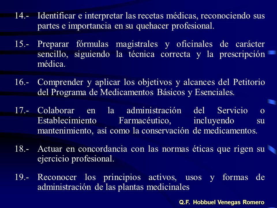 14.-Identificar e interpretar las recetas médicas, reconociendo sus partes e importancia en su quehacer profesional. 15.-Preparar fórmulas magistrales