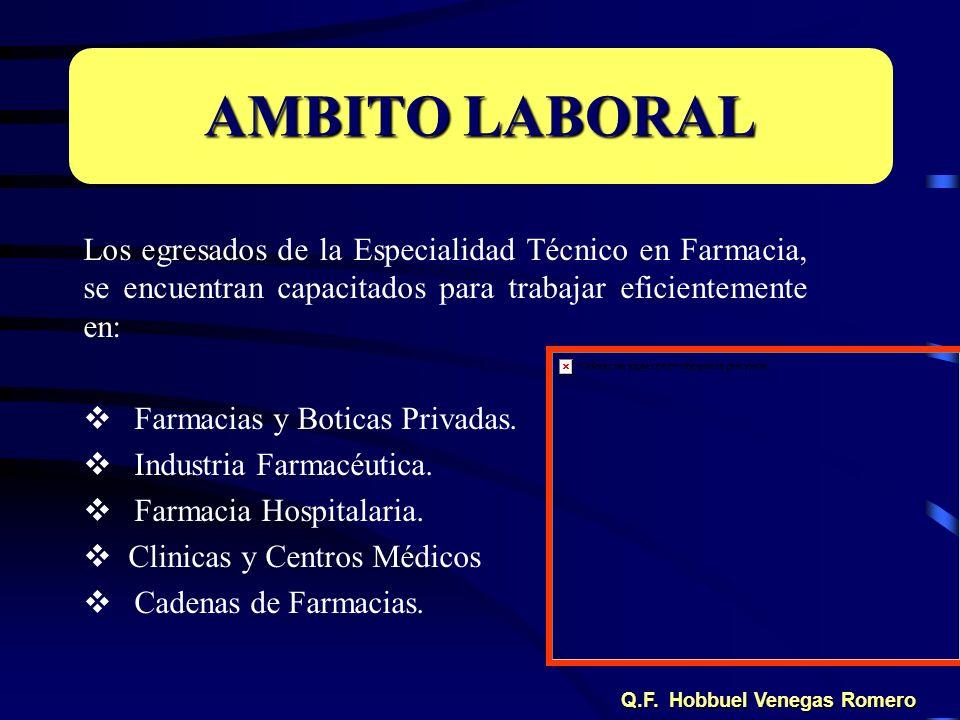 Los egresados de la Especialidad Técnico en Farmacia, se encuentran capacitados para trabajar eficientemente en: Farmacias y Boticas Privadas. Industr