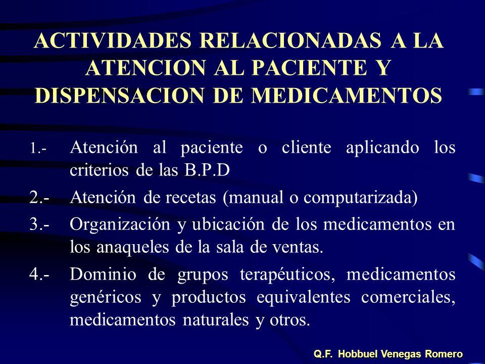 ACTIVIDADES RELACIONADAS A LA ATENCION AL PACIENTE Y DISPENSACION DE MEDICAMENTOS 1.- Atención al paciente o cliente aplicando los criterios de las B.