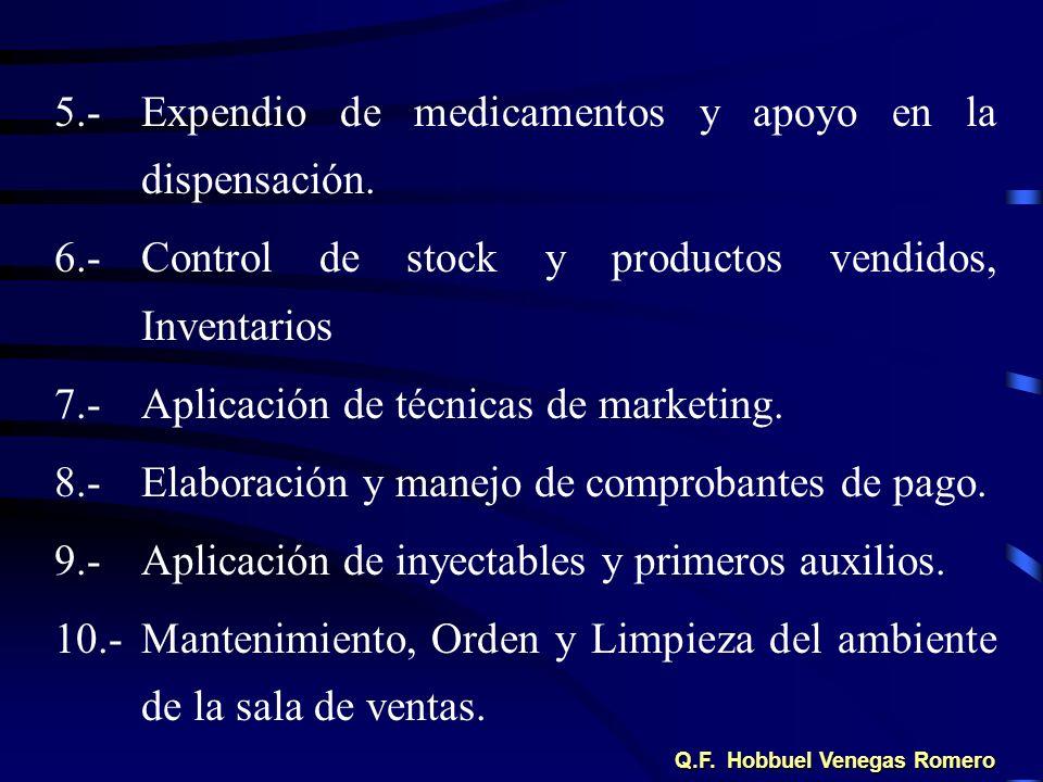 5.-Expendio de medicamentos y apoyo en la dispensación. 6.-Control de stock y productos vendidos, Inventarios 7.-Aplicación de técnicas de marketing.