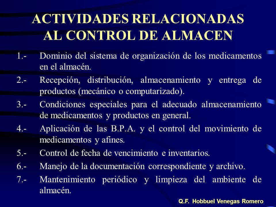 ACTIVIDADES RELACIONADAS AL CONTROL DE ALMACEN 1.-Dominio del sistema de organización de los medicamentos en el almacén. 2.-Recepción, distribución, a