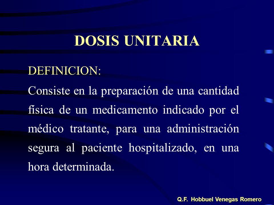 DOSIS UNITARIA DEFINICION: Consiste en la preparación de una cantidad física de un medicamento indicado por el médico tratante, para una administració