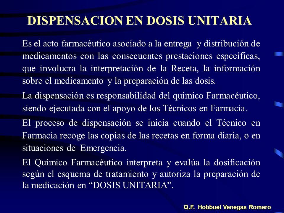 DISPENSACION EN DOSIS UNITARIA Es el acto farmacéutico asociado a la entrega y distribución de medicamentos con las consecuentes prestaciones específi