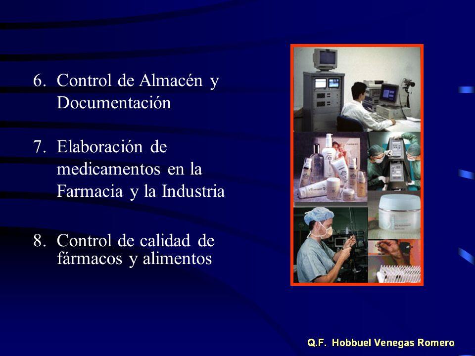 6.Control de Almacén y Documentación 7.Elaboración de medicamentos en la Farmacia y la Industria 8.Control de calidad de fármacos y alimentos