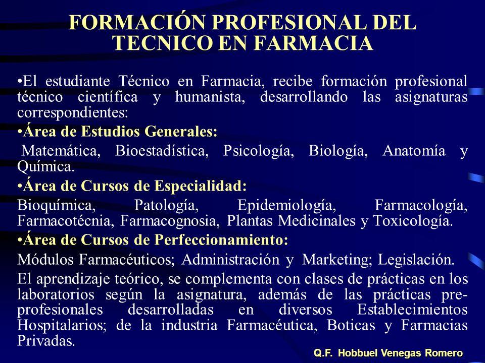 FORMACIÓN PROFESIONAL DEL TECNICO EN FARMACIA El estudiante Técnico en Farmacia, recibe formación profesional técnico científica y humanista, desarrol