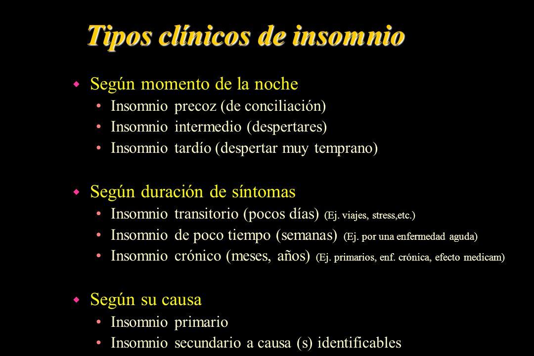 Tipos clínicos de insomnio w Según momento de la noche Insomnio precoz (de conciliación) Insomnio intermedio (despertares) Insomnio tardío (despertar