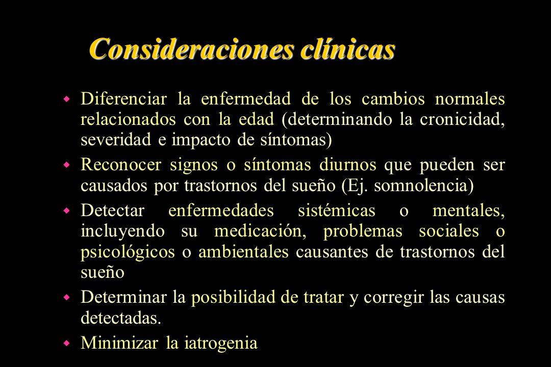 Consideraciones clínicas w Diferenciar la enfermedad de los cambios normales relacionados con la edad (determinando la cronicidad, severidad e impacto