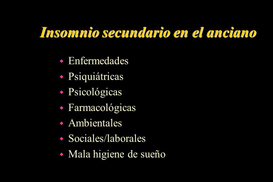 Insomnio secundario en el anciano w Enfermedades w Psiquiátricas w Psicológicas w Farmacológicas w Ambientales w Sociales/laborales w Mala higiene de