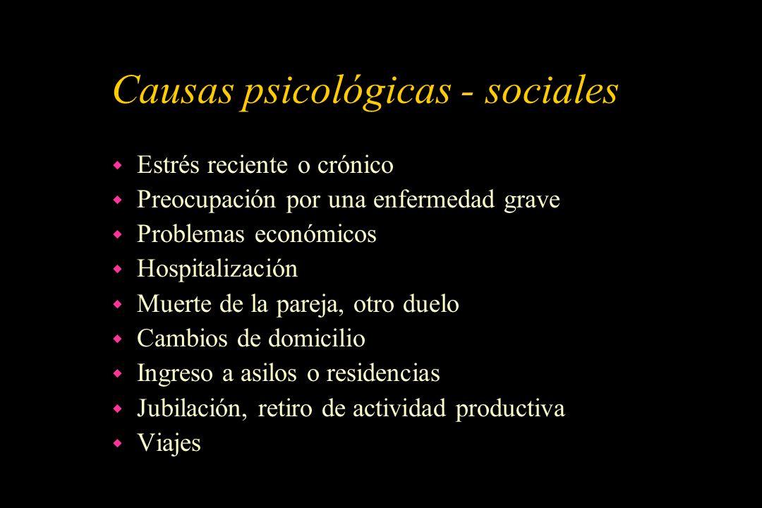 Causas psicológicas - sociales w Estrés reciente o crónico w Preocupación por una enfermedad grave w Problemas económicos w Hospitalización w Muerte d