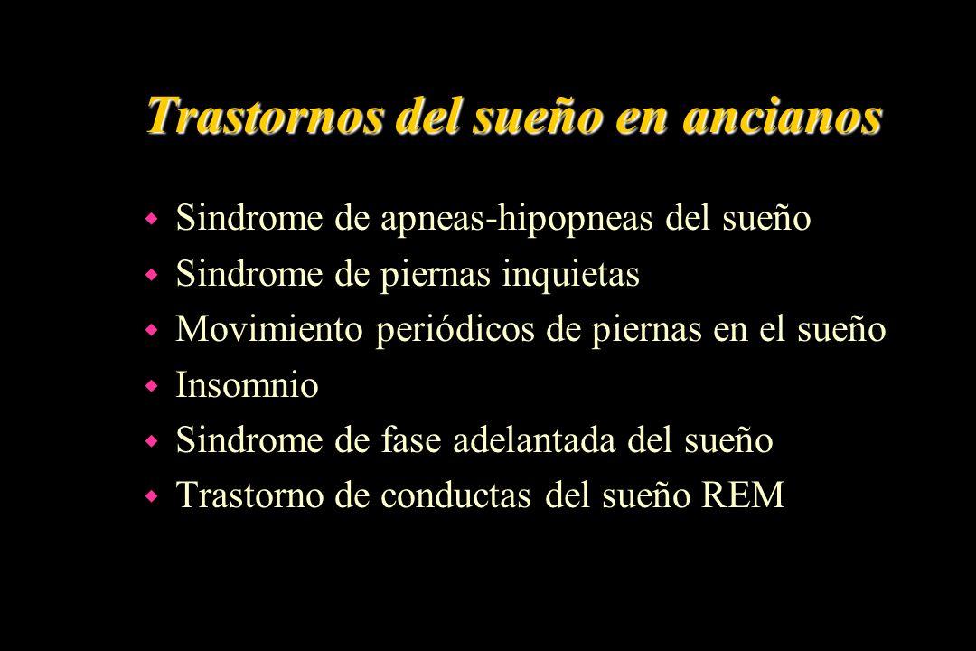 Trastornos del sueño en ancianos w Sindrome de apneas-hipopneas del sueño w Sindrome de piernas inquietas w Movimiento periódicos de piernas en el sue