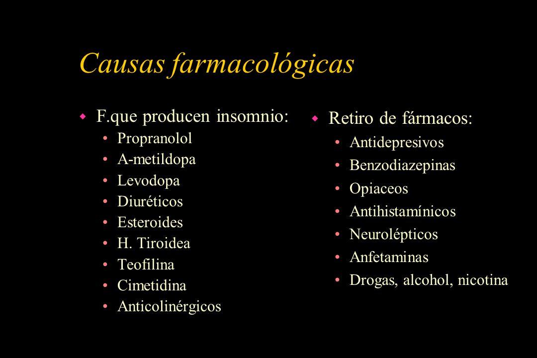Causas farmacológicas w F.que producen insomnio: Propranolol A-metildopa Levodopa Diuréticos Esteroides H. Tiroidea Teofilina Cimetidina Anticolinérgi