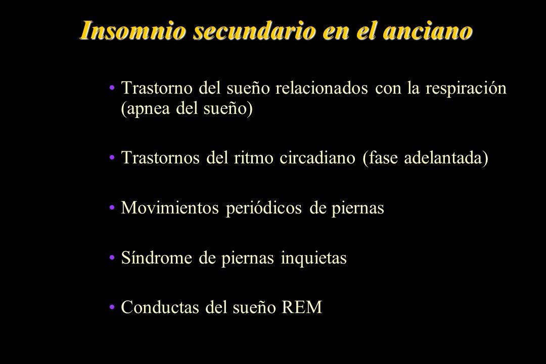 Insomnio secundario en el anciano Trastorno del sueño relacionados con la respiración (apnea del sueño) Trastornos del ritmo circadiano (fase adelanta