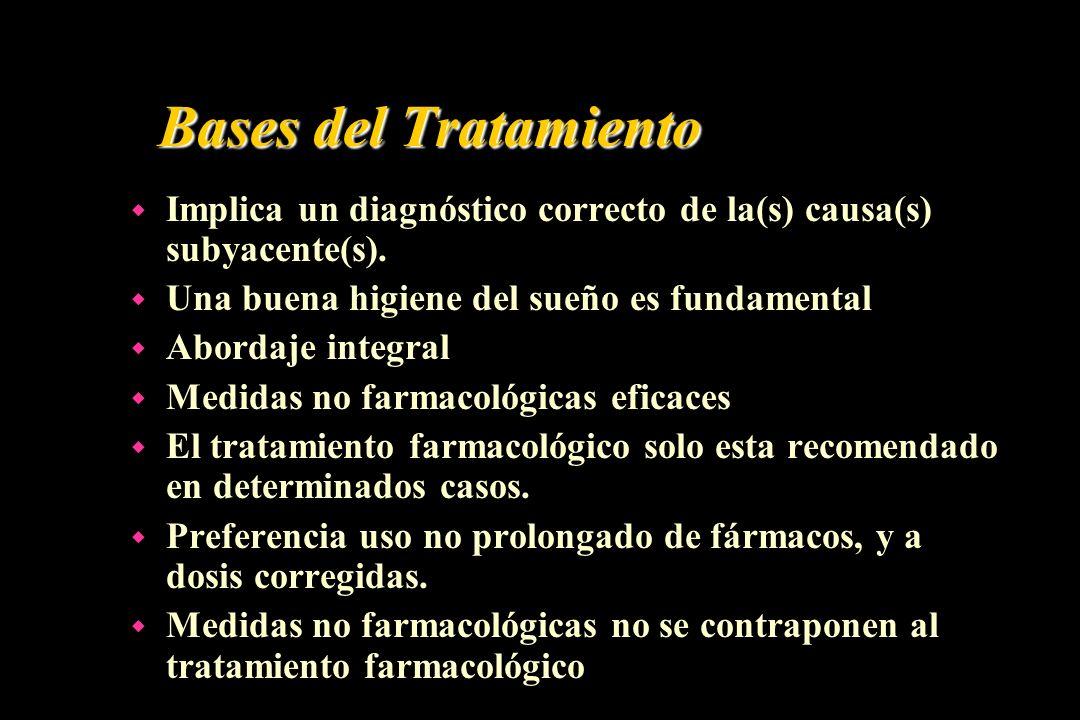 Bases del Tratamiento w Implica un diagnóstico correcto de la(s) causa(s) subyacente(s). w Una buena higiene del sueño es fundamental w Abordaje integ