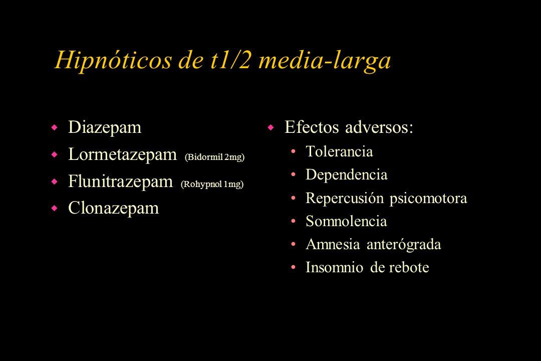 Hipnóticos de t1/2 media-larga w Diazepam w Lormetazepam (Bidormil 2mg) w Flunitrazepam (Rohypnol 1mg) w Clonazepam w Efectos adversos: Tolerancia Dep