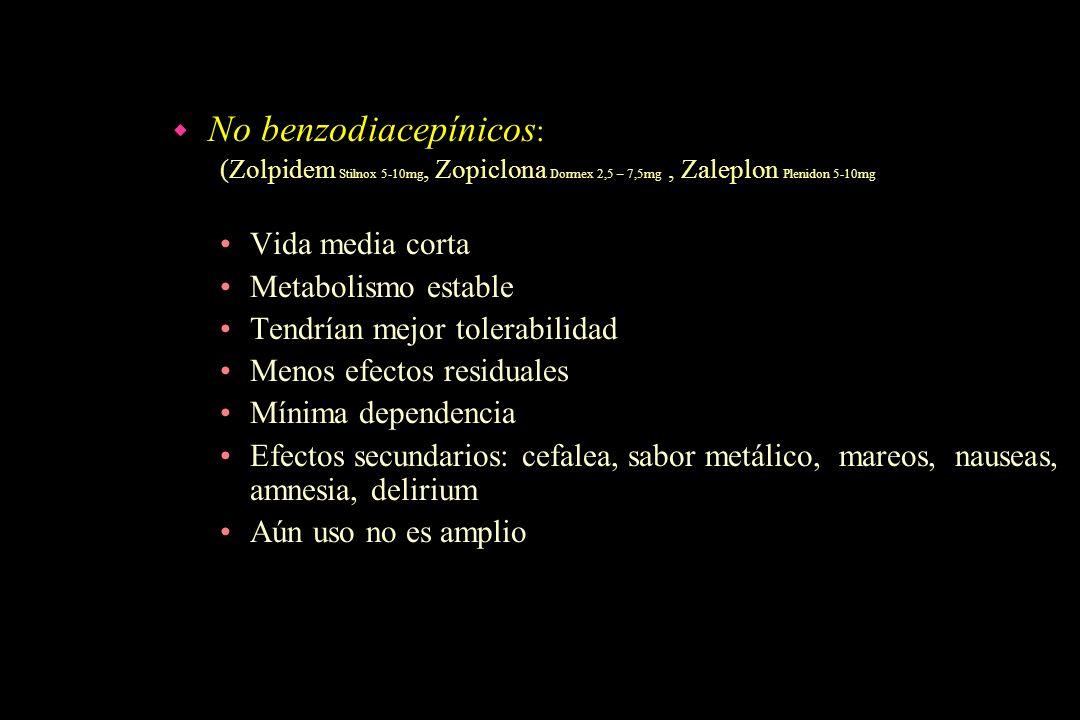 w No benzodiacepínicos : (Zolpidem Stilnox 5-10mg, Zopiclona Dormex 2,5 – 7,5mg, Zaleplon Plenidon 5-10mg Vida media corta Metabolismo estable Tendría