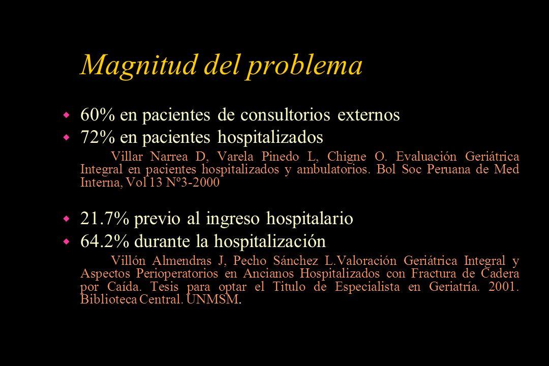 Magnitud del problema w 60% en pacientes de consultorios externos w 72% en pacientes hospitalizados Villar Narrea D, Varela Pinedo L, Chigne O. Evalua