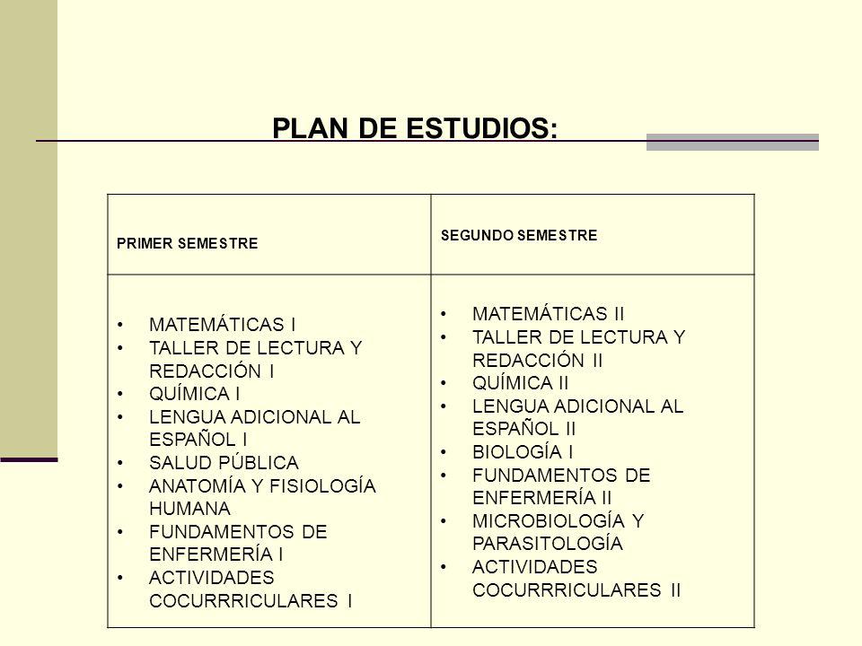 TERCER SEMESTRE CUARTO SEMESTRE MATEMÁTICAS III FÍSICA I MÉTODOS DE INVESTIGACIÓN I COMPUTACIÓN QUÍMICA III BIOLOGÍA II PATOLOGÍA I CLÍNICAS DE ENFERMERÍA MATEMÁTICAS IV FÍSICA II INTRODUCCIÓN A LAS CIENCIAS SOCIALES MÉTODOS DE INVESTIGACIÓN II DESARROLLO MOTIVACIONAL FARMACOLOGÍA PATOLOGÍA II ENFERMERÍA MÉDICO QUIRÚRGICA CLÍNICAS DE ENFERMERÍA II