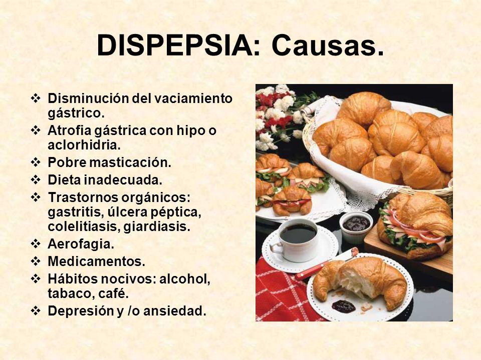 DISPEPSIA Indigestión o mala digestión. Síndrome caracterizado por: Epigastralgia urente. Nauseas. Meteorismo, flatulencia. Vinagrera, acidez. Llenura