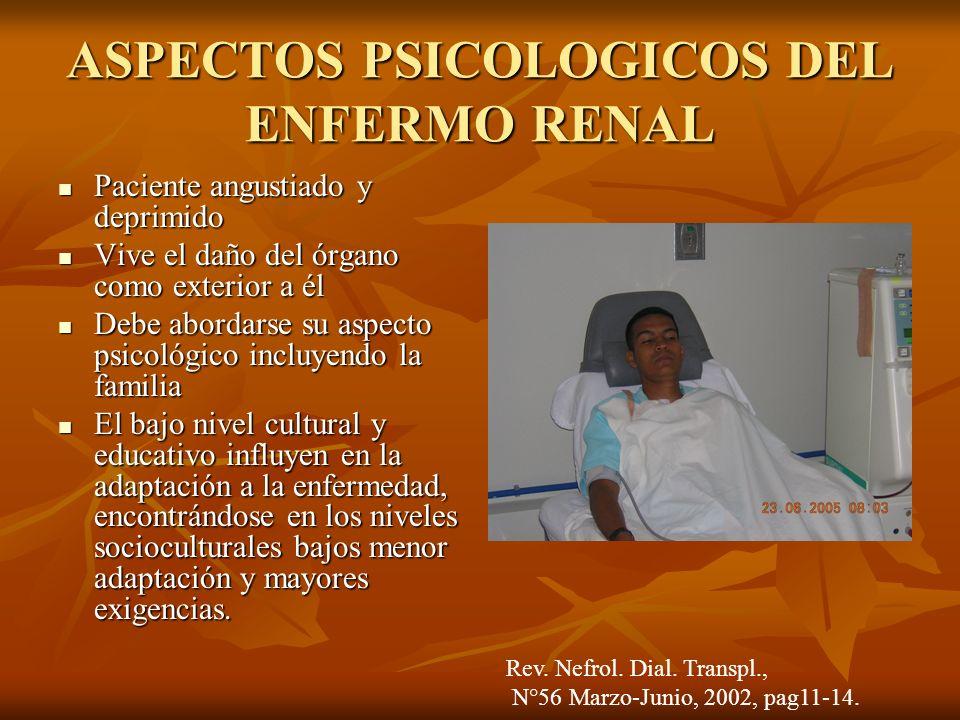 ASPECTOS PSICOLOGICOS DEL ENFERMO RENAL Paciente angustiado y deprimido Paciente angustiado y deprimido Vive el daño del órgano como exterior a él Viv