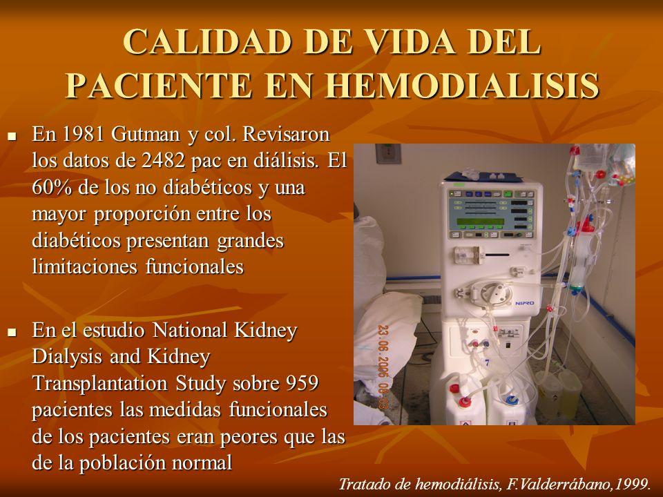 CALIDAD DE VIDA DEL PACIENTE EN HEMODIALISIS En 1981 Gutman y col. Revisaron los datos de 2482 pac en diálisis. El 60% de los no diabéticos y una mayo