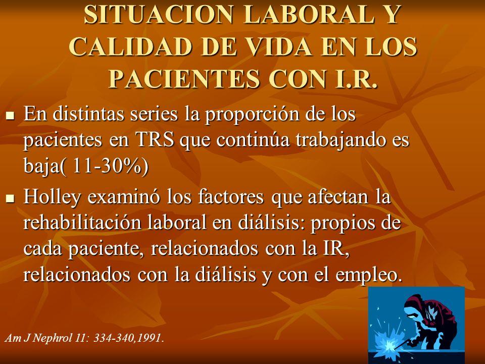 SITUACION LABORAL Y CALIDAD DE VIDA EN LOS PACIENTES CON I.R. En distintas series la proporción de los pacientes en TRS que continúa trabajando es baj