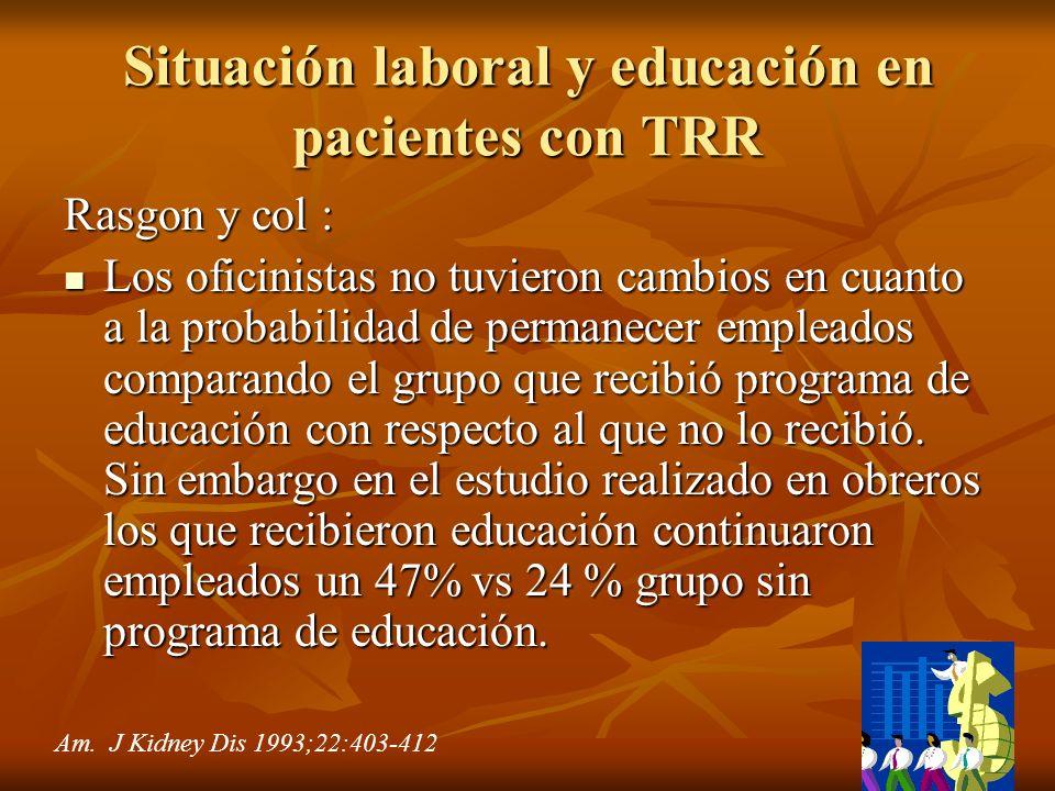 Situación laboral y educación en pacientes con TRR Rasgon y col : Los oficinistas no tuvieron cambios en cuanto a la probabilidad de permanecer emplea