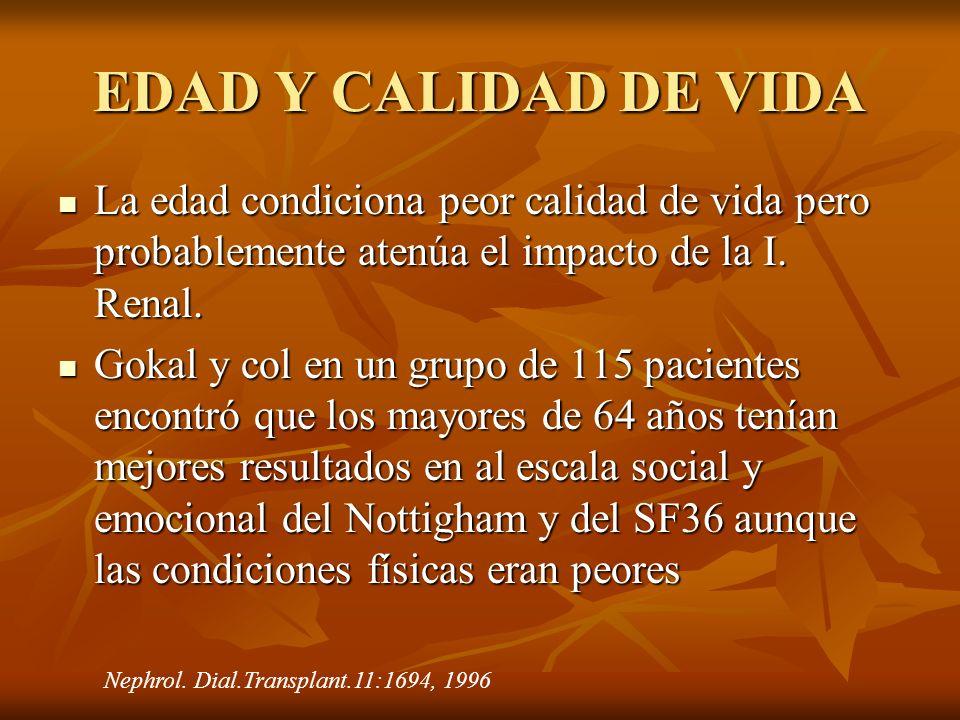 EDAD Y CALIDAD DE VIDA La edad condiciona peor calidad de vida pero probablemente atenúa el impacto de la I. Renal. La edad condiciona peor calidad de