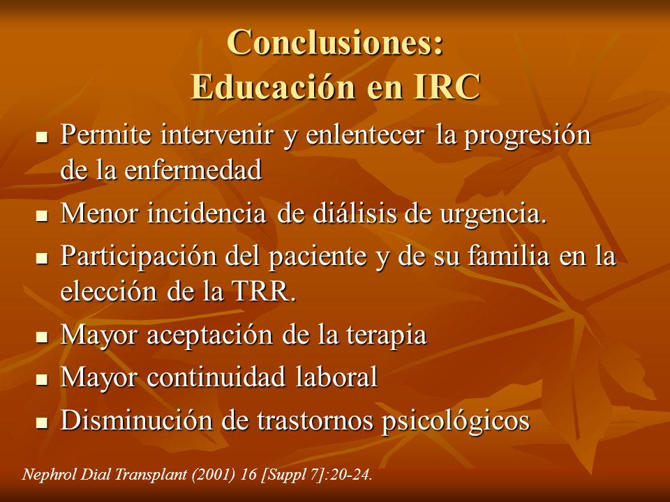 Conclusiones: Educación en IRC Permite intervenir y enlentecer la progresión de la enfermedad Permite intervenir y enlentecer la progresión de la enfe