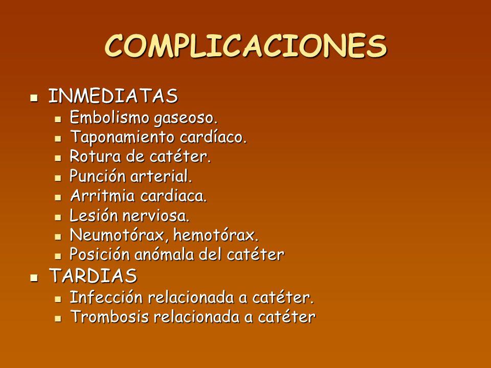 COMPLICACIONES INMEDIATAS INMEDIATAS Embolismo gaseoso. Embolismo gaseoso. Taponamiento cardíaco. Taponamiento cardíaco. Rotura de catéter. Rotura de