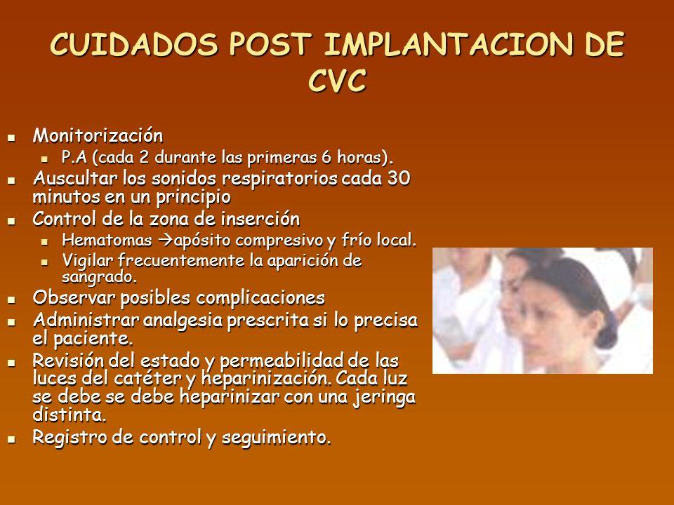 CUIDADOS POST IMPLANTACION DE CVC Monitorización Monitorización P.A (cada 2 durante las primeras 6 horas). P.A (cada 2 durante las primeras 6 horas).
