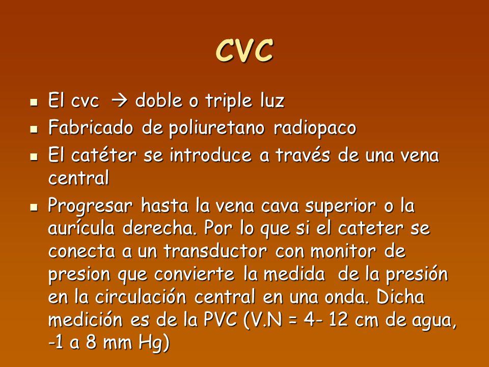 CVC El cvc doble o triple luz El cvc doble o triple luz Fabricado de poliuretano radiopaco Fabricado de poliuretano radiopaco El catéter se introduce