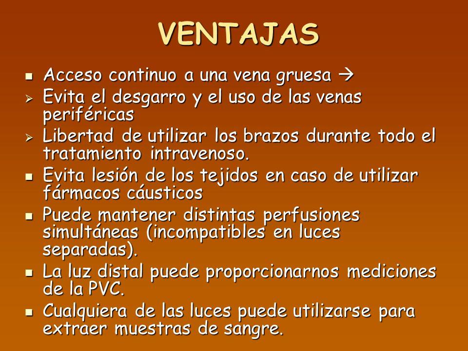 INDICACIONES Venas periféricas de mala calidad (edema, quemaduras, venas esclerosadas, obesidad, o shock).