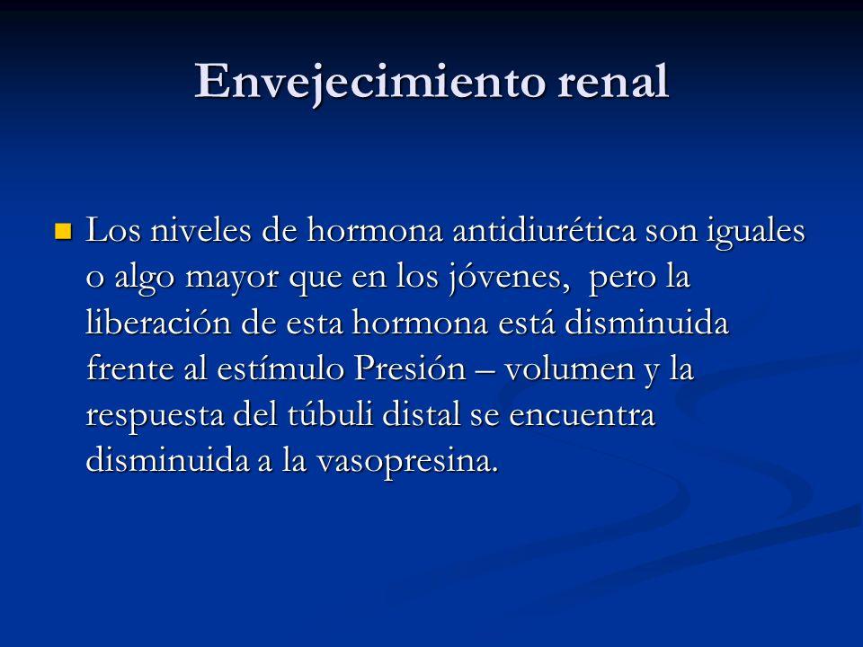 Envejecimiento renal Los niveles de hormona antidiurética son iguales o algo mayor que en los jóvenes, pero la liberación de esta hormona está disminu