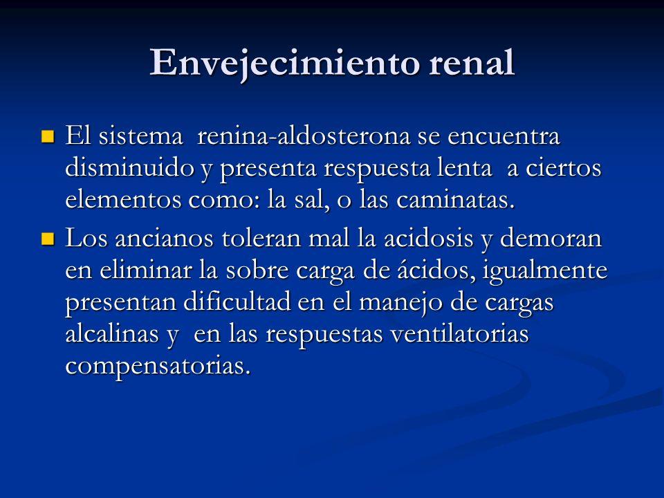 Envejecimiento renal El sistema renina-aldosterona se encuentra disminuido y presenta respuesta lenta a ciertos elementos como: la sal, o las caminata