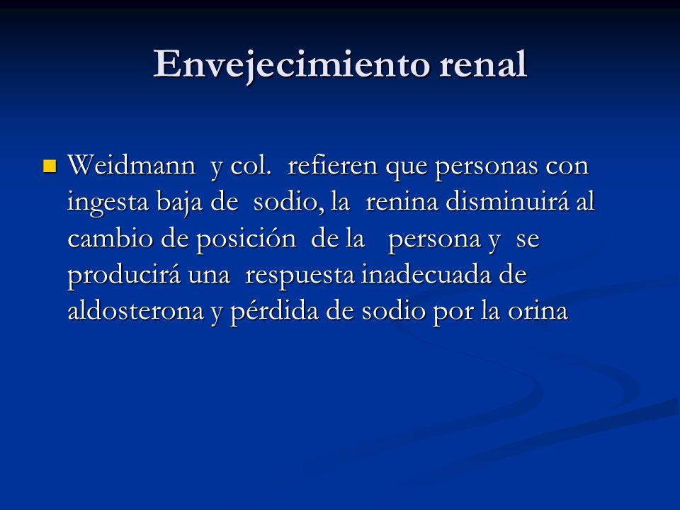 Envejecimiento renal Weidmann y col. refieren que personas con ingesta baja de sodio, la renina disminuirá al cambio de posición de la persona y se pr