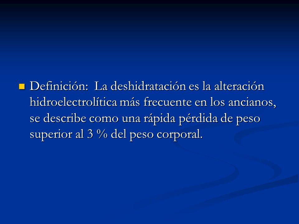 Definición: La deshidratación es la alteración hidroelectrolítica más frecuente en los ancianos, se describe como una rápida pérdida de peso superior