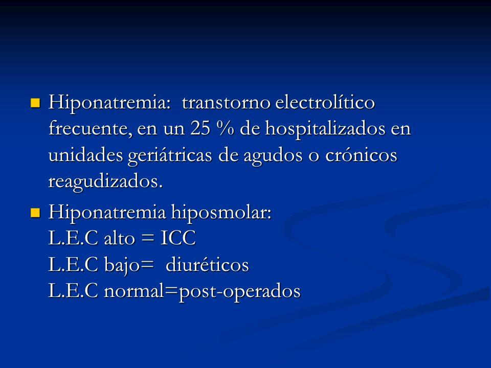 Hiponatremia: transtorno electrolítico frecuente, en un 25 % de hospitalizados en unidades geriátricas de agudos o crónicos reagudizados. Hiponatremia