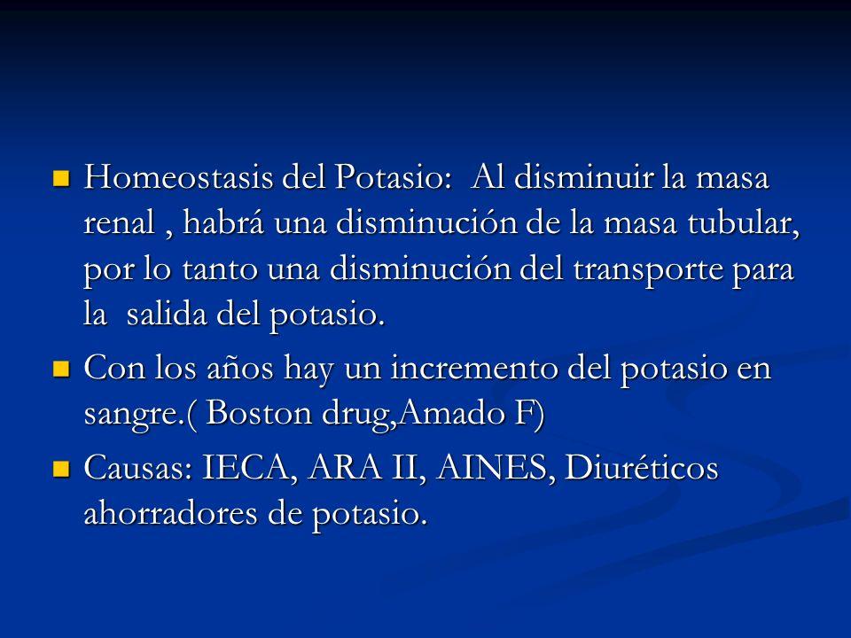 Homeostasis del Potasio: Al disminuir la masa renal, habrá una disminución de la masa tubular, por lo tanto una disminución del transporte para la sal