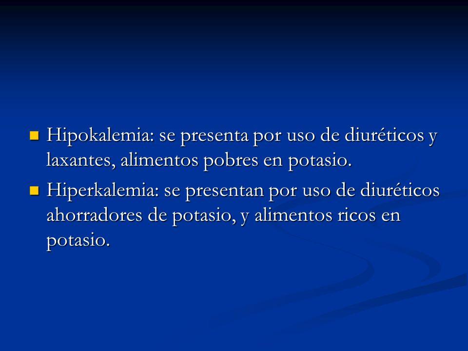Hipokalemia: se presenta por uso de diuréticos y laxantes, alimentos pobres en potasio. Hipokalemia: se presenta por uso de diuréticos y laxantes, ali