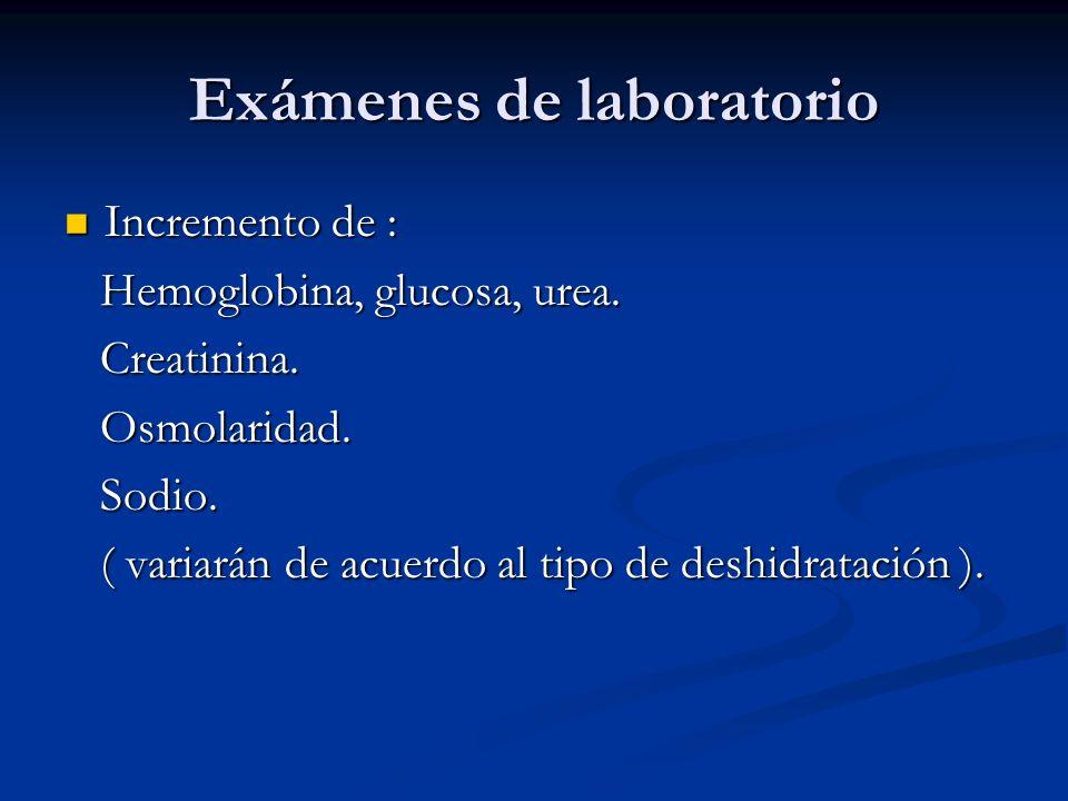 Exámenes de laboratorio Incremento de : Incremento de : Hemoglobina, glucosa, urea. Hemoglobina, glucosa, urea. Creatinina. Creatinina. Osmolaridad. O