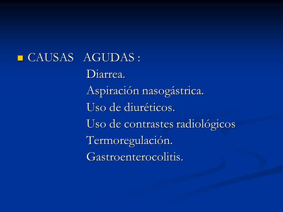 CAUSAS AGUDAS : CAUSAS AGUDAS : Diarrea. Diarrea. Aspiración nasogástrica. Aspiración nasogástrica. Uso de diuréticos. Uso de diuréticos. Uso de contr