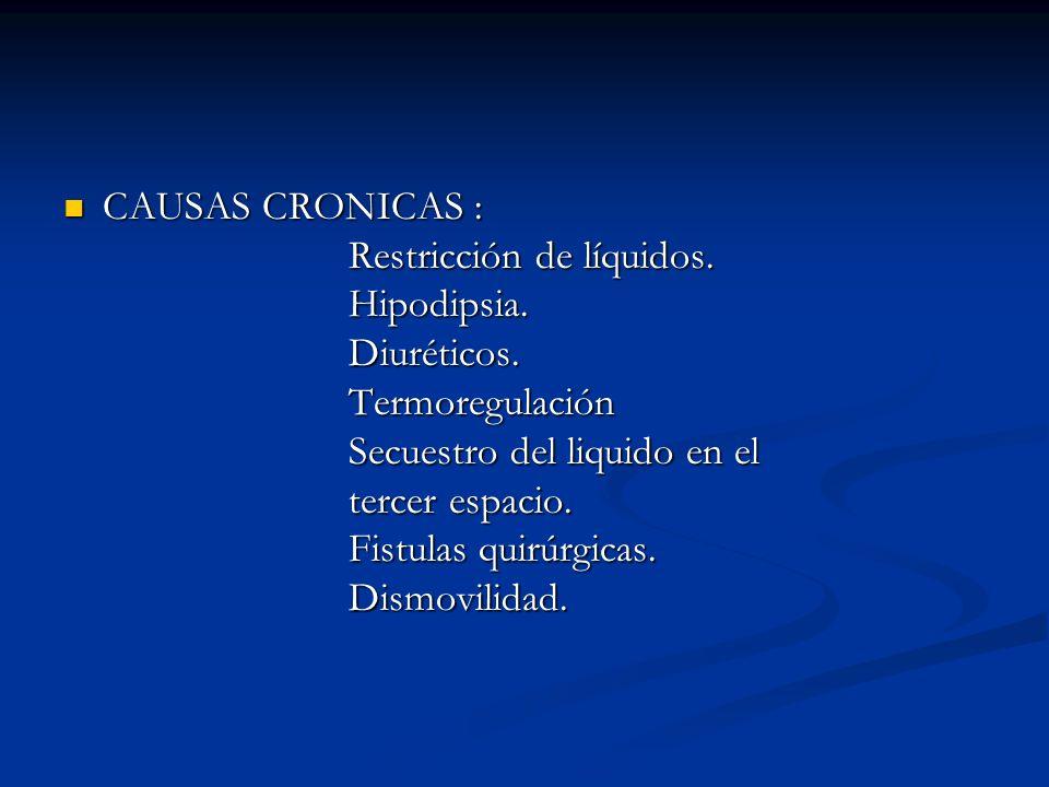 CAUSAS CRONICAS : CAUSAS CRONICAS : Restricción de líquidos. Restricción de líquidos. Hipodipsia. Hipodipsia. Diuréticos. Diuréticos. Termoregulación