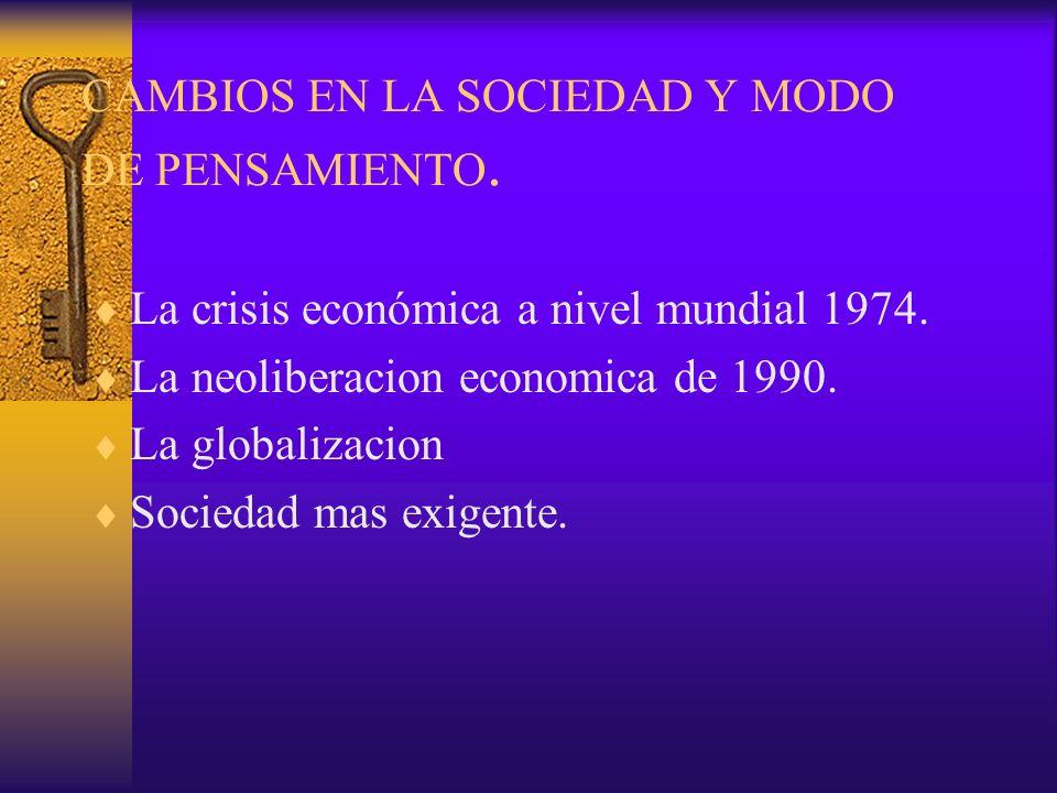 CAMBIOS EN LA SOCIEDAD Y MODO DE PENSAMIENTO. La crisis económica a nivel mundial 1974. La neoliberacion economica de 1990. La globalizacion Sociedad