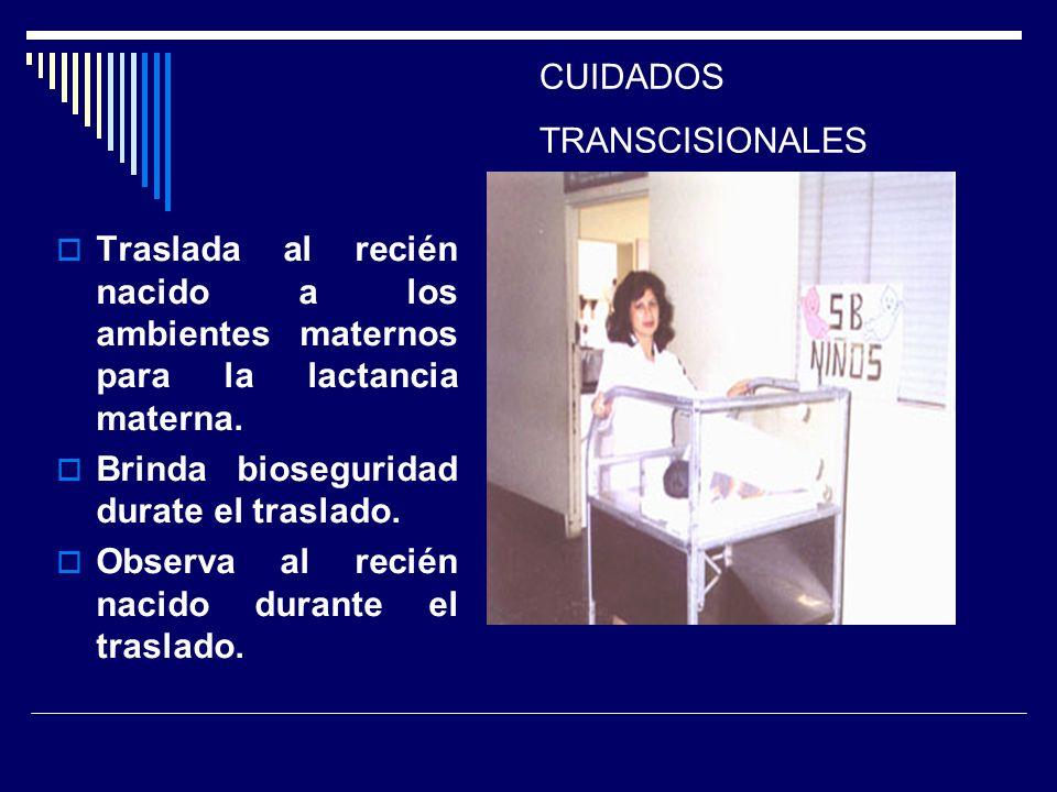 CUIDADOS TRANSCISIONALES Prepara los equipos y los mantiene operativos. Participa activamente en el Programa Alo Bebe.