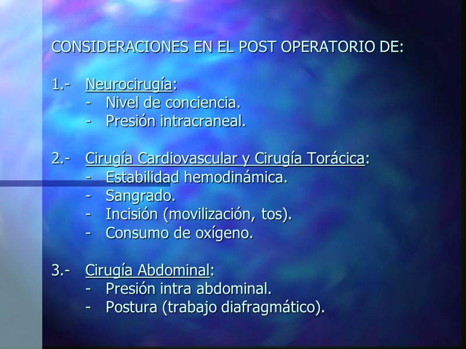 EVALUACIÓN EN EL POST OPERATORIO INMEDIATO: *Lectura de historia clínica. Evolución, estado actual. Tipo de cirugía. *Examen fisioterapéutico: - Estad
