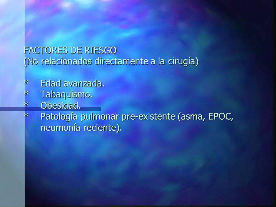 COMPLICACIONES RESPIRATORIAS POSTQUIRÚRGICAS: *Atelectasia o colapso pulmonar post operatorio. *Neumonía post operatoria. *Tromboembolismo pulmonar. *