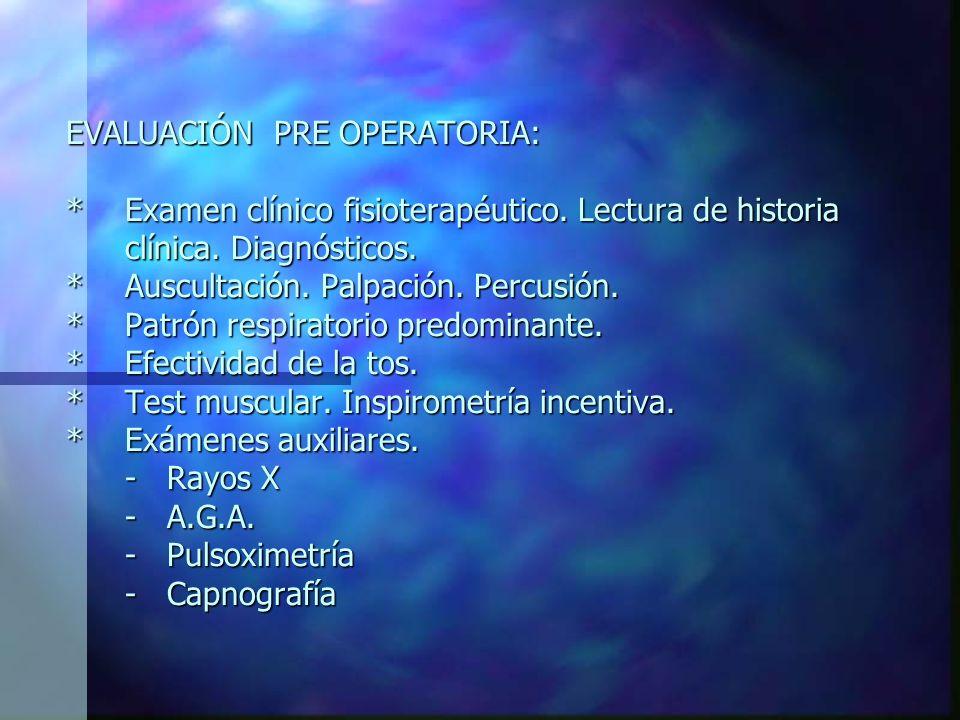 EVALUACIÓN PRE OPERATORIA: *Examen clínico fisioterapéutico.
