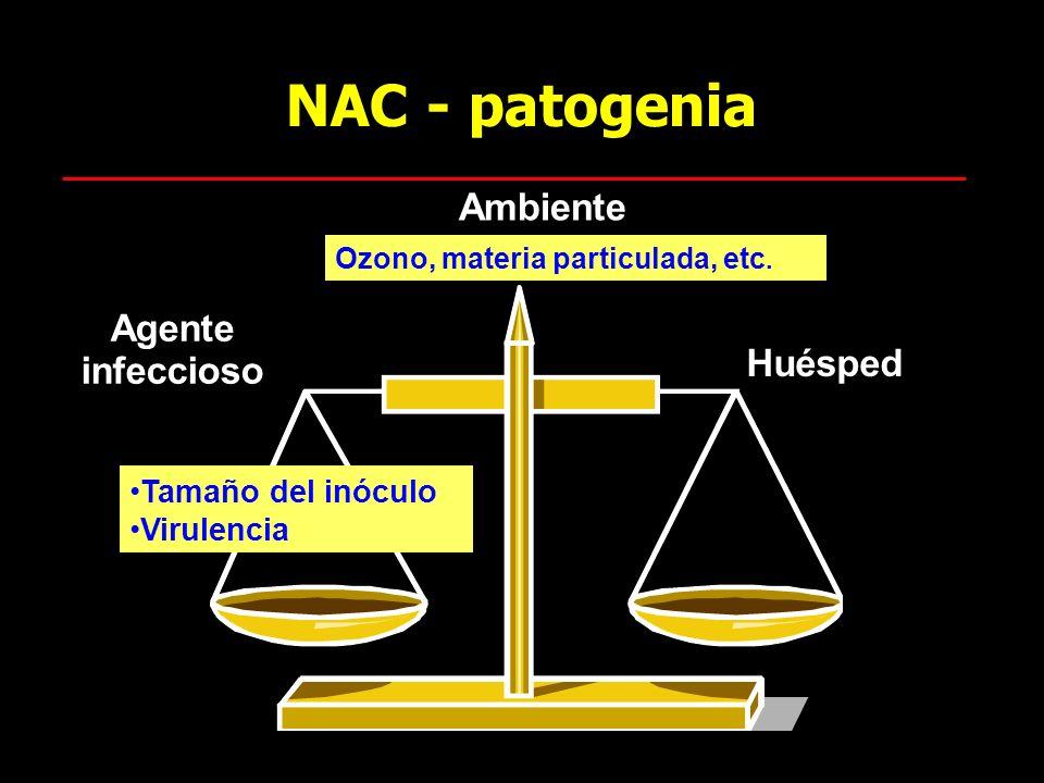NAC - patogenia Agente infeccioso Huésped Tamaño del inóculo Virulencia Ambiente Ozono, materia particulada, etc.