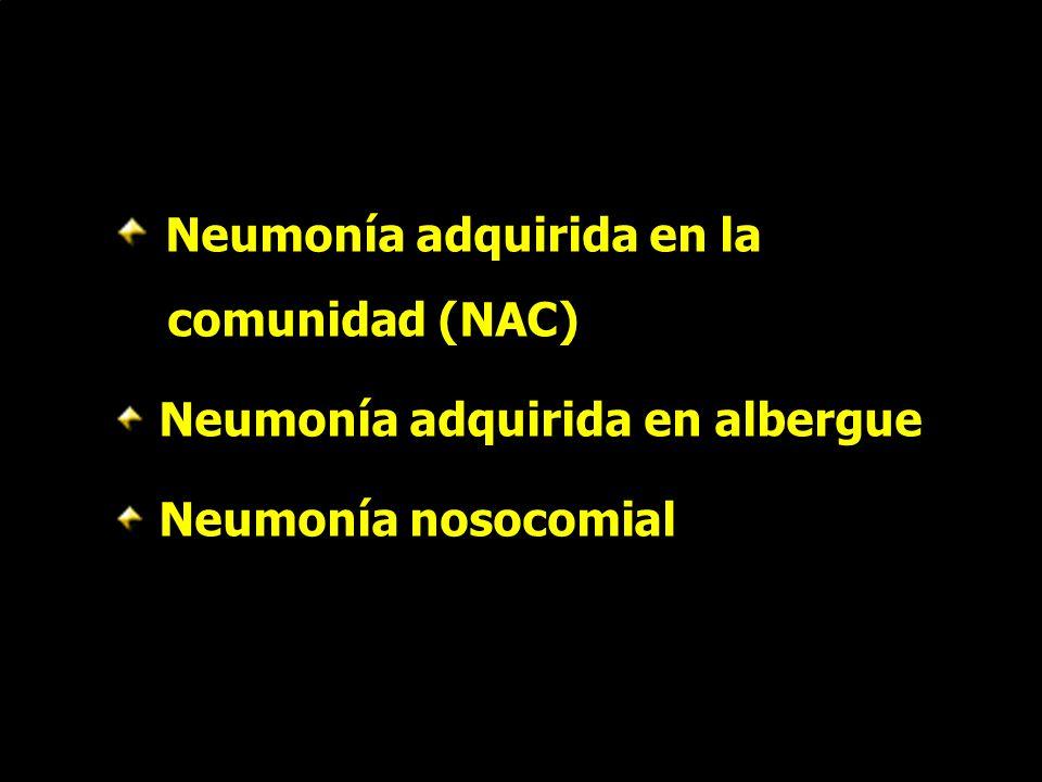 Gérmenes aislados en NAC de causa desconocida GérmenN° (%) S pneumoniae18 (33%) H influenzae6 (11%) P carinii4 (7%) C pneumoniae3 (5%) M pneumoniae1 (2%) S viridans1 (2%) E coli1 (%) Ruiz-Gonzáles et al.