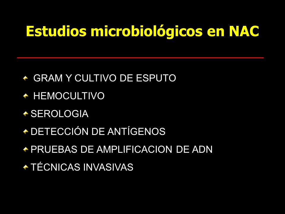 Estudios microbiológicos en NAC GRAM Y CULTIVO DE ESPUTO HEMOCULTIVO SEROLOGIA DETECCIÓN DE ANTÍGENOS PRUEBAS DE AMPLIFICACION DE ADN TÉCNICAS INVASIV